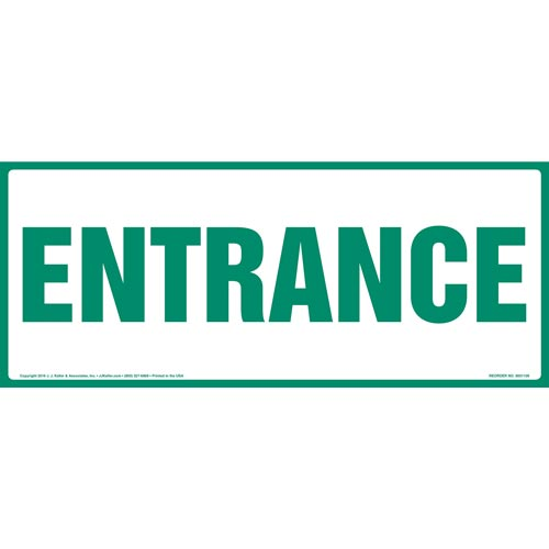 Entrance Sign - Green Text, Long Format (012160)