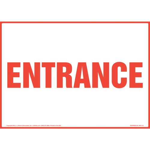 Entrance Sign - Red Text (012161)