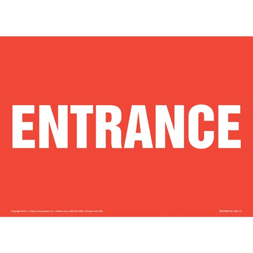 Entrance Sign - White Text on Red (012162)