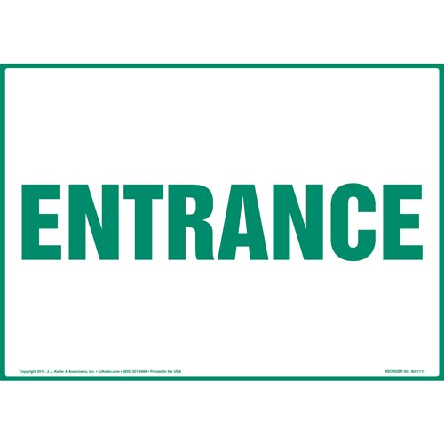 Entrance Sign - Green Text (012163)