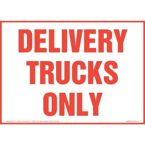 Delivery Trucks Only Sign - Red Text on White (012164)
