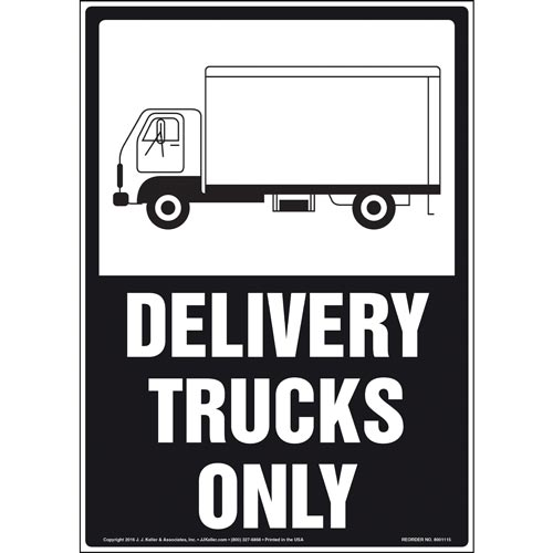 Delivery Trucks Only Sign - Black & White with Icon (012166)