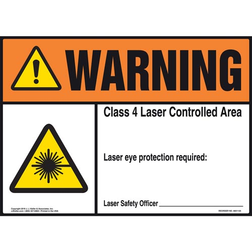 Warning: Laser Eye Protection Required - ANSI Sign (012179)