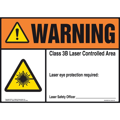 Warning: Laser Eye Protection Required - ANSI Sign (012180)