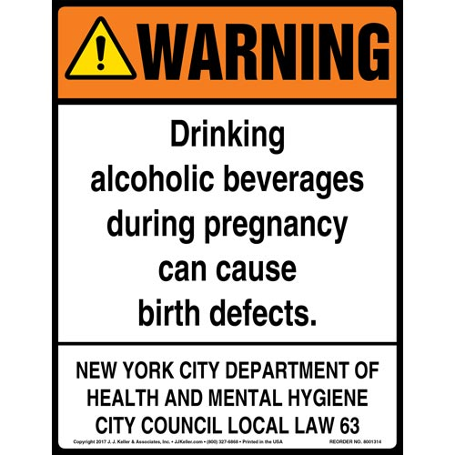 New York City Drinking Alcoholic Beverages Warning Sign - ANSI (012422)