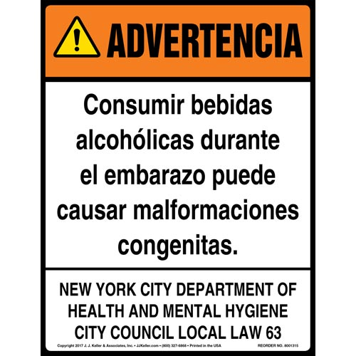 New York City Drinking Alcoholic Beverages Warning Sign - ANSI, Spanish (012423)