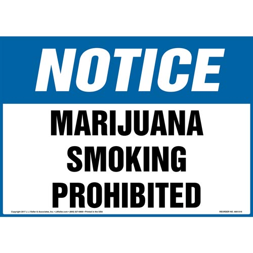 Notice: Marijuana Smoking Prohibited Sign - OSHA (012428)