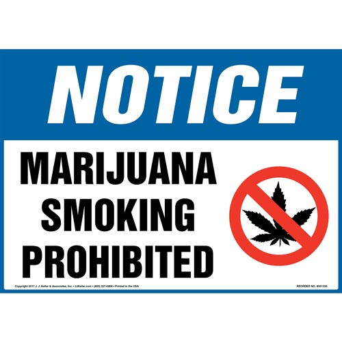 Notice: Marijuana Smoking Prohibited Sign with Icon - OSHA (012429)