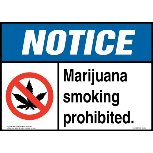 Notice: Marijuana Smoking Prohibited Sign with Icon - ANSI (012430)