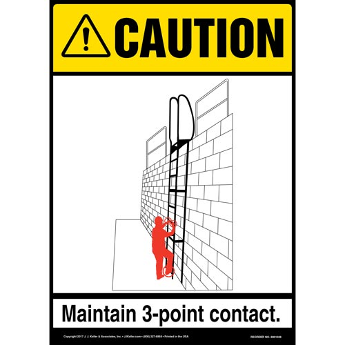 Caution: Fixed Ladder 3-Point Contact - OSHA Sign (012437)