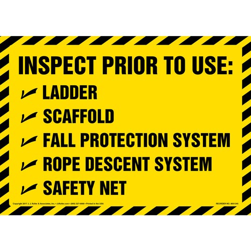 Inspect Prior To Use - Sign (012454)