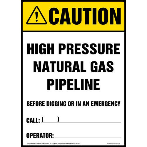 Caution: High Pressure Natural Gas Pipeline - ANSI Sign (012456)