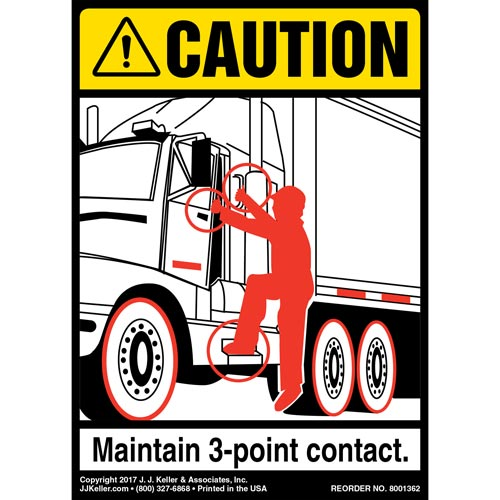 Caution: 3-Point Contact Label, Tractor - ANSI (012477)