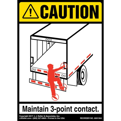 Caution: 3-Point Contact Label, Trailer Roll-Up Door - ANSI (012479)