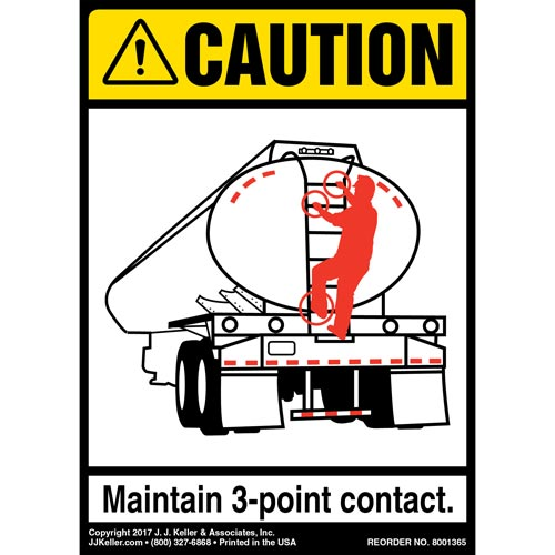 Caution: 3-Point Contact Label, Tanker - ANSI (012480)