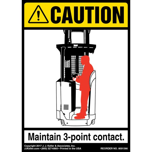 Caution: 3-Point Contact Label, Forklift Standing - ANSI (012481)