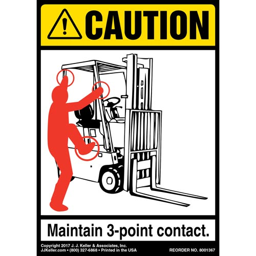 Caution: 3-Point Contact Label, Forklift Seated - ANSI (012482)