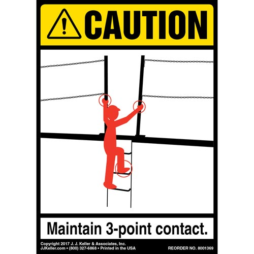 Caution: 3-Point Contact Dock Ramp - ANSI Label (012484)