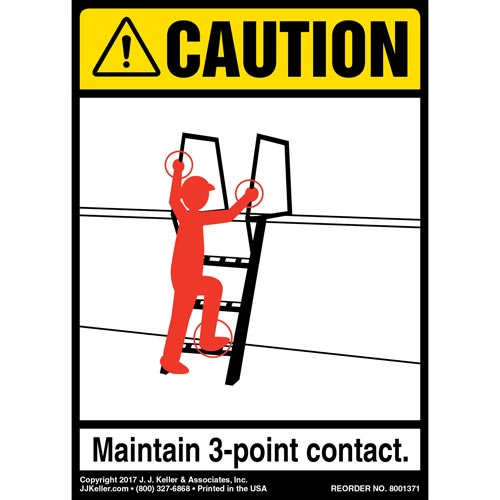 Caution: 3-Point Contact Containment Wall - ANSI Label (012486)