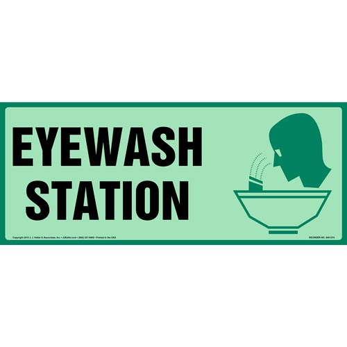 Eyewash Station Sign with Icon - Long Format, Glow In The Dark (012607)