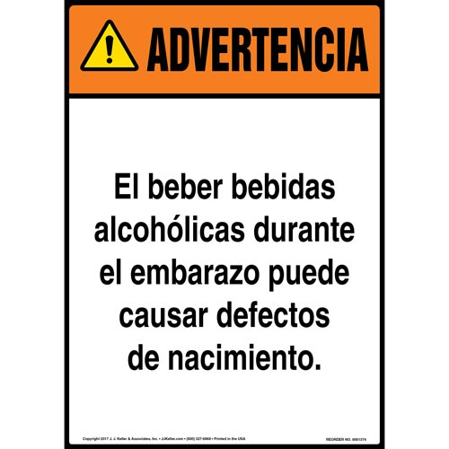 Warning: Drinking Alcoholic Beverages During Pregnancy Sign - ANSI, Spanish (012425)