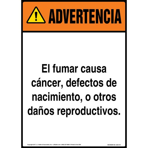 Warning: Smoking Can Cause Cancer, Birth Defects, Reproductive Harm Sign - ANSI, Spanish (012427)