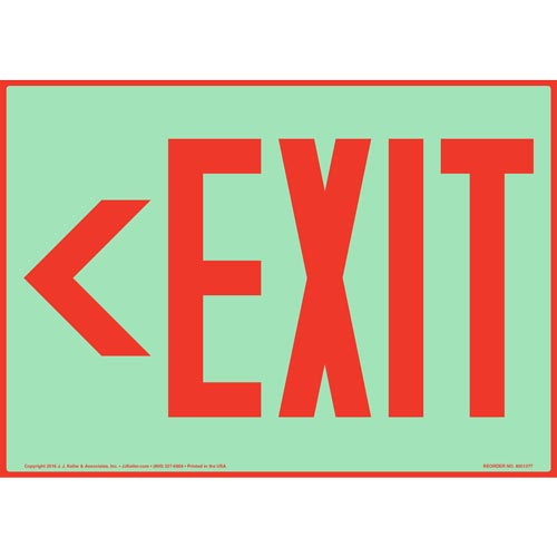 Directional Exit Left Sign - Red, Glow In The Dark (012544)