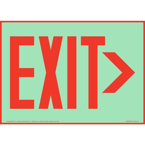 Directional Exit Right Sign - Red, Glow In The Dark (012545)