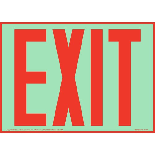 Exit Sign Red - Glow In The Dark (012546)