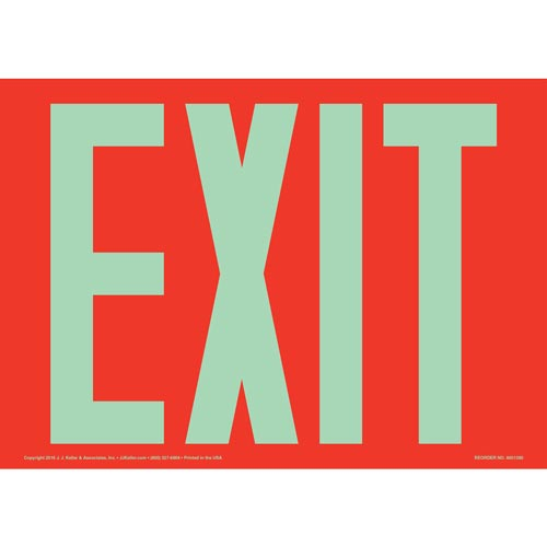 Exit Sign - Glow In The Dark Text on Red (012547)