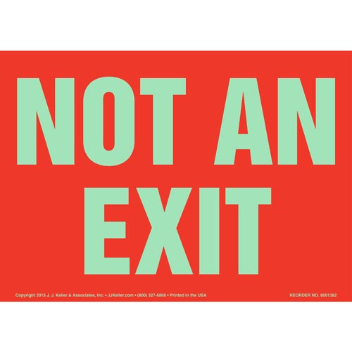 Not An Exit Sign - Red, Glow In The Dark (012549)