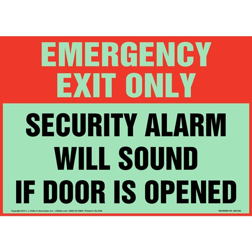 Emergency Exit: Security Alarm Will Sound If Door Is Opened Sign - Glow In The Dark (012550)