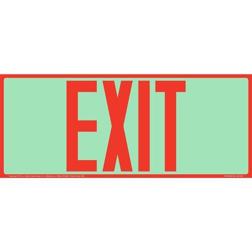 Exit Sign - Long Format, Red Text, Glow In The Dark (012552)