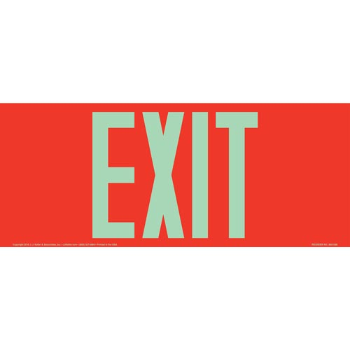 Exit Sign - Long Format, Glow In The Dark Text on Red (012553)