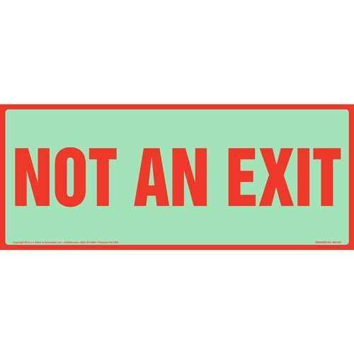 Not An Exit Sign - Long Format, Glow In The Dark Background (012554)