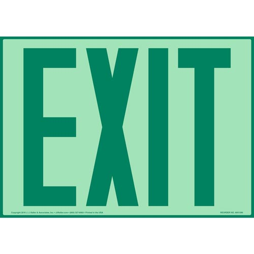 Exit Sign - Green Text, Glow In The Dark (012556)