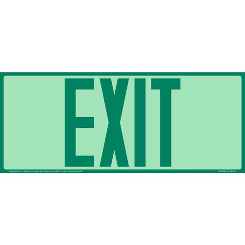 Exit Sign- Green - Glow In The Dark (012557)