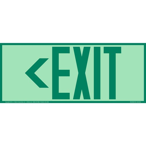 Directional Exit Left Sign - Green, Long Format, Glow In The Dark (012559)