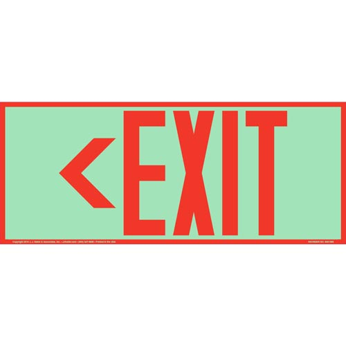 Directional Exit Left Sign- Red - Glow In The Dark (012562)