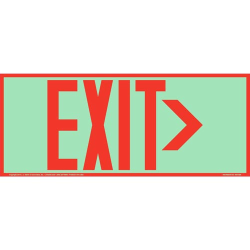 Directional Exit Right Sign - Red, Long Format, Glow In The Dark (012563)