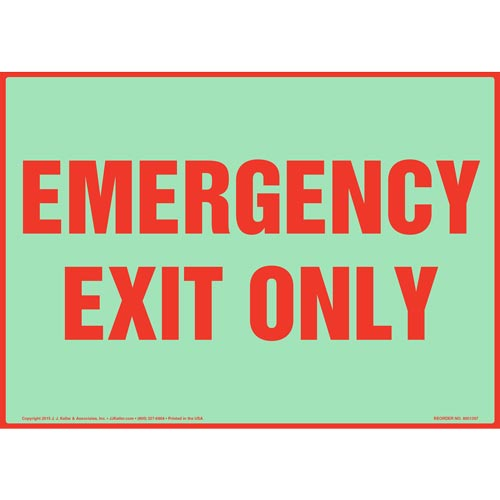 Emergency Exit Only Sign - Glow In The Dark (012564)