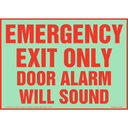 Emergency Exit Only Door Alarm Will Sound Sign - Glow In The Dark (012565)