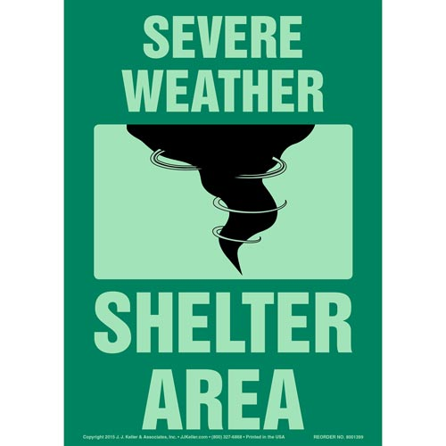 Severe Weather Shelter Area Sign - Glow In The Dark (012566)