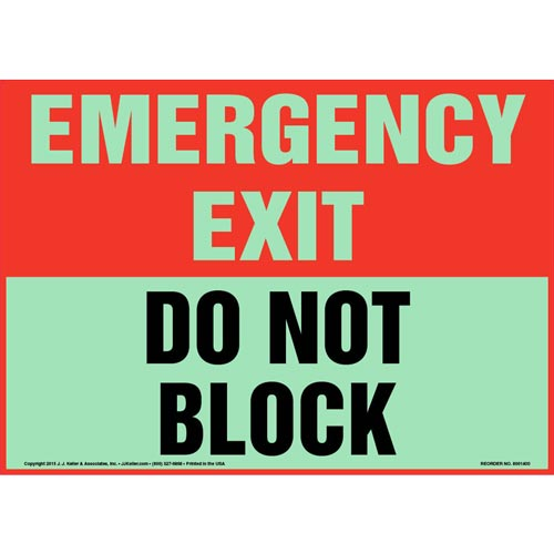 Emergency Exit: Do Not Block Sign - Glow In The Dark (012567)