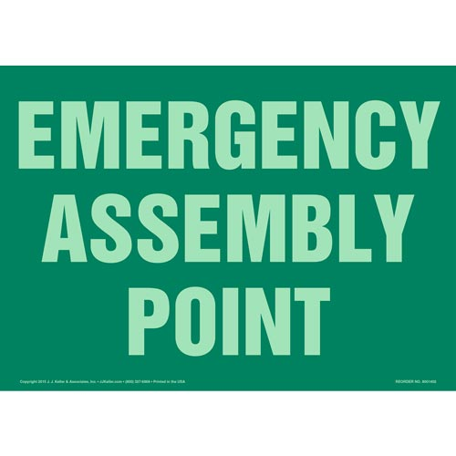 Emergency Assembly Point Sign - Glow In The Dark (012569)