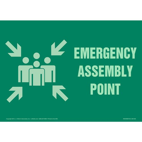 Emergency Assembly Point Sign with Icon - Glow In The Dark (012570)