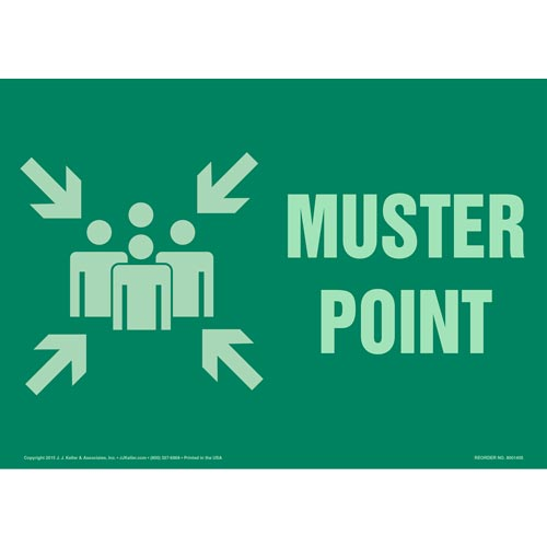 Muster Point Sign with Icon - Glow In The Dark (012572)