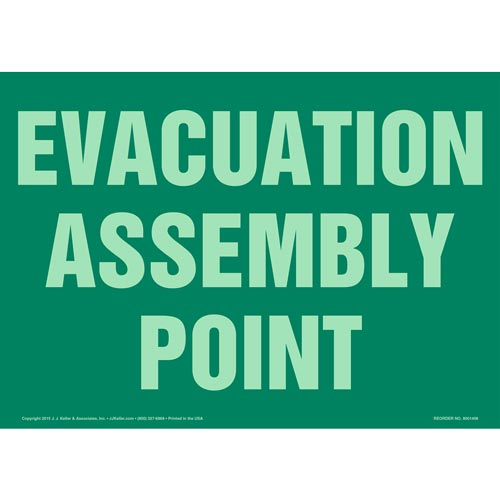 Evacuation Assembly Point Sign - Glow In The Dark (012573)