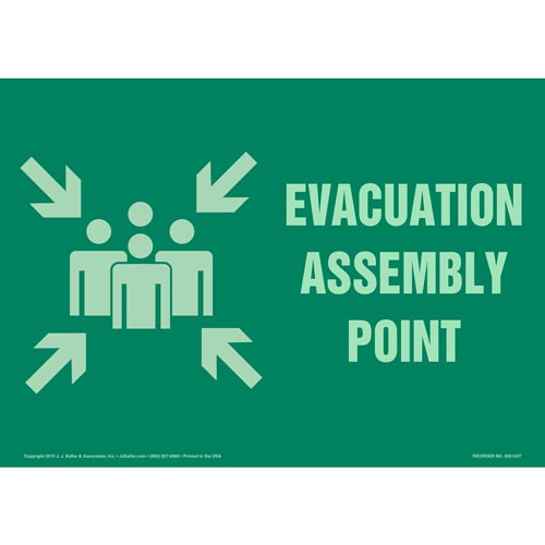 Evacuation Assembly Point Sign with Icon - Glow In The Dark (012574)
