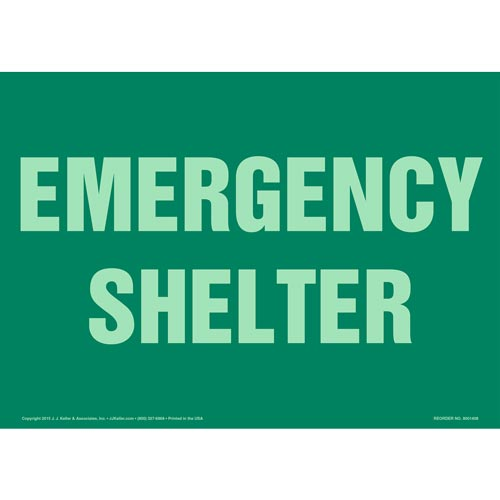 Emergency Shelter Sign - Glow In The Dark (012575)
